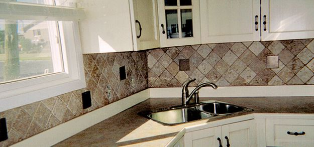 brick inlay in white and grey kitchen