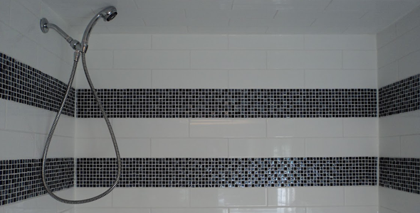 White with black stripes shower tile