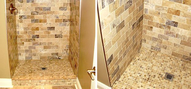 shower brick and mosaic
